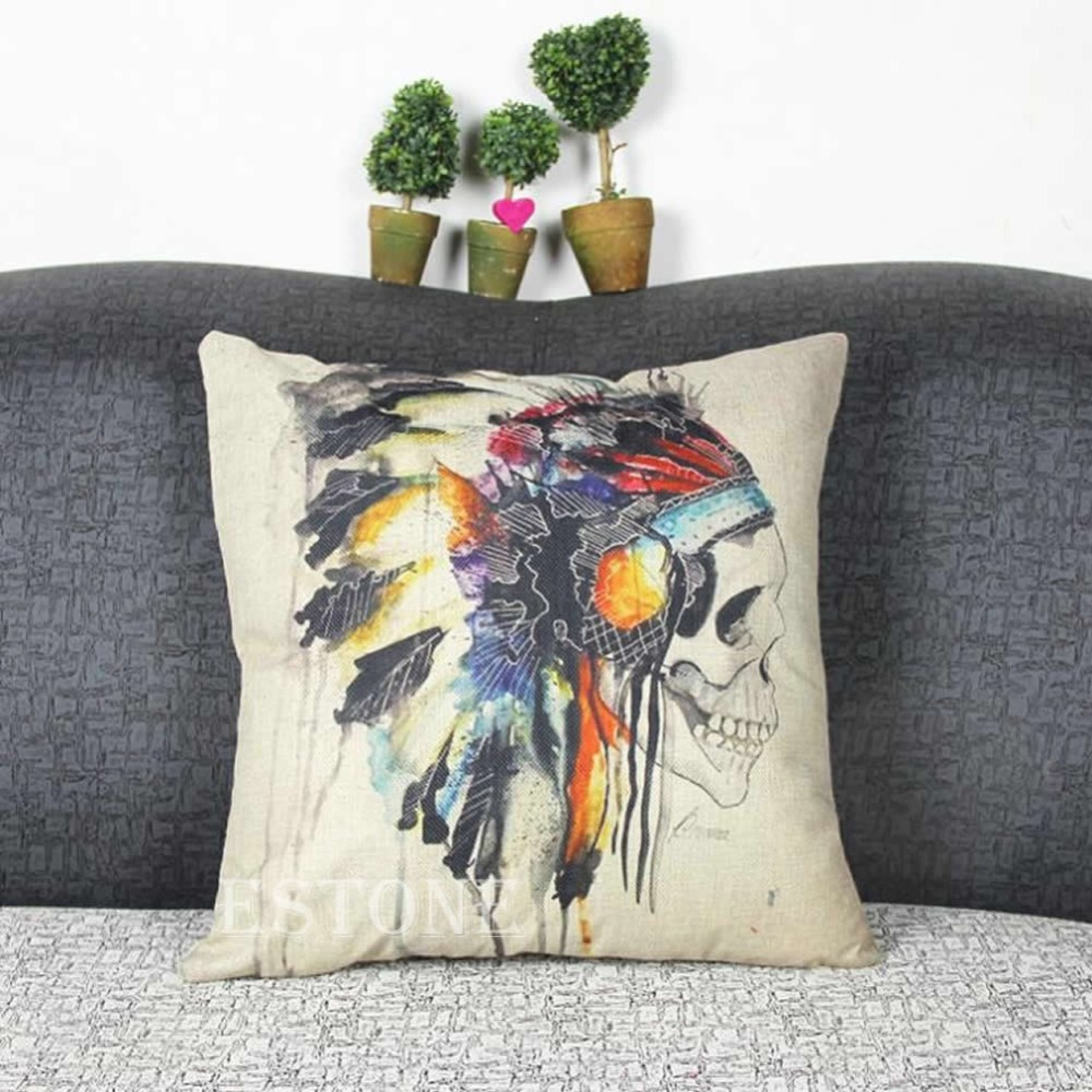 Indian Skull Cotton Linen Throw Pillow Case Cushion Cover