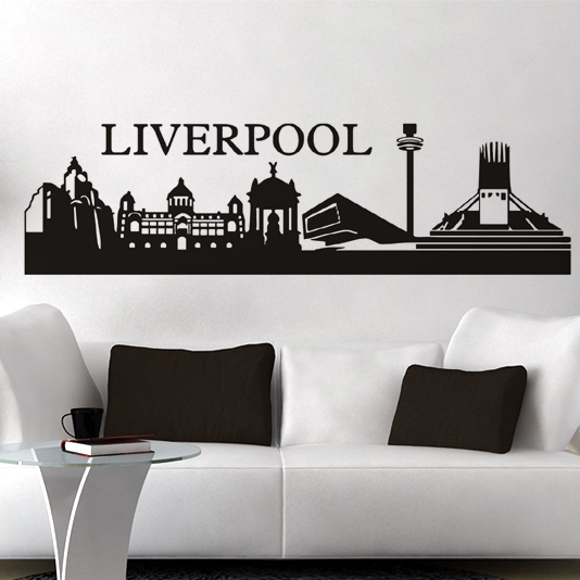 Free shipping Wall Stickers Footballl Wall decor PVC material decals Football Building City Liverpool Size:450mm*1410mm L-140(China (Mainland))