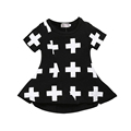 Free Shipping 2017 Girls Cotton Clothing Summer Children Cross Printed Dress Y2-4 Toddler Kids Princess Short Sleeve Party Dress