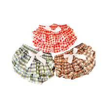 Toddle Baby Girls Ruffled Bloomers Shorts 100% Cotton Plaid Print For 0-24M Colorful Newborn Baby Ruffle Diaper Cover Panties(China (Mainland))