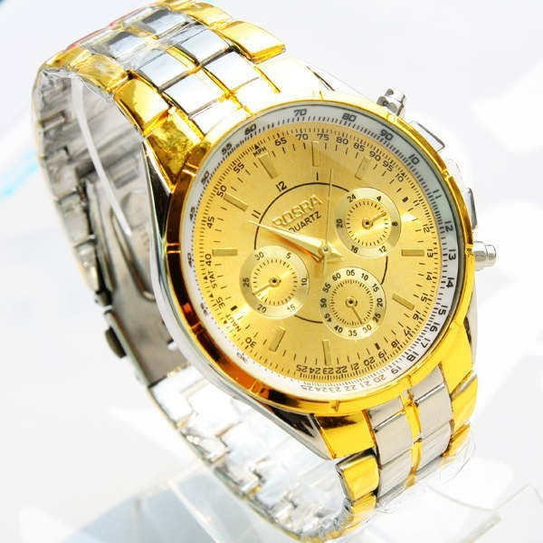 Free shipping Wholesale Fashion Brand Rosra Men's Gold Wrist Watch Men Stainless Steel Analog Quartz Watch Wristwatch Reloj