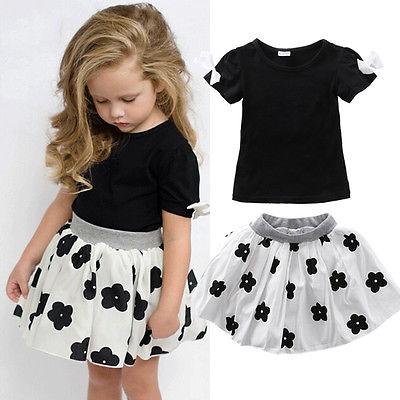 2016 Fashion Kids Baby Girls Toddler Shirt Skits Dress 2pcs Clothes Outfits Set(China (Mainland))