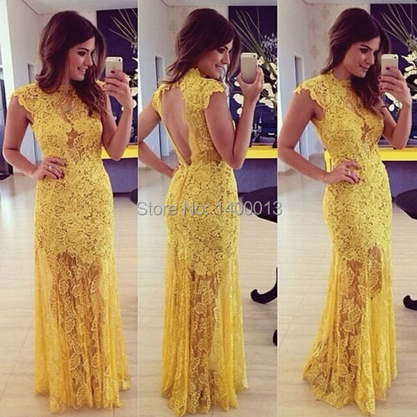 New Arrival Vestido De Festa Sexy Cap Sleeve Yellow Mermaid Lace Long Evening Dresses With Inexpensive Price(China (Mainland))