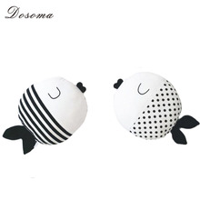 Simple Black And White Fish Pillow Kiss Fish Polka Dot Fish Cushion Doll to Appease Accompany Sleep Doll Children's Room Decor(China (Mainland))