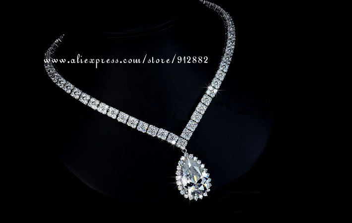 Free Shipping 2014 Stunning Sparkling Waterdrop CZ Prong Set White Gold Plated Wedding Bridal Prom Party Large Jewelry Set