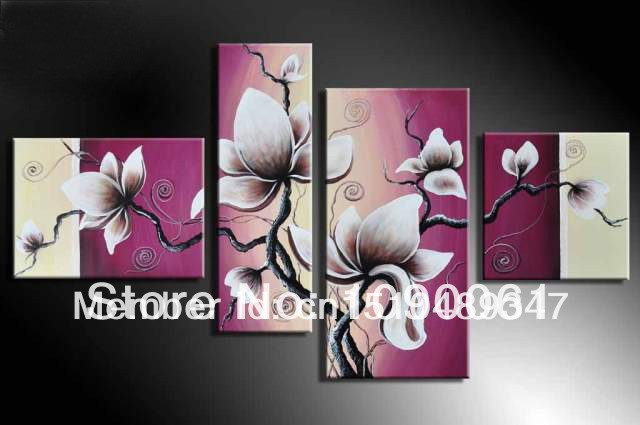 store product Modern Flower Oil Painting On Canvas Hand painted Cheap Pink Rose  Piece Set Wall Art
