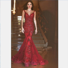 Dark Red Evening Dress Lace Appliques Dubai Arabic Style Formal Dresses Robe de soiree 2016 Sheer Back Mermaid Sexy Evening Gown(China (Mainland))