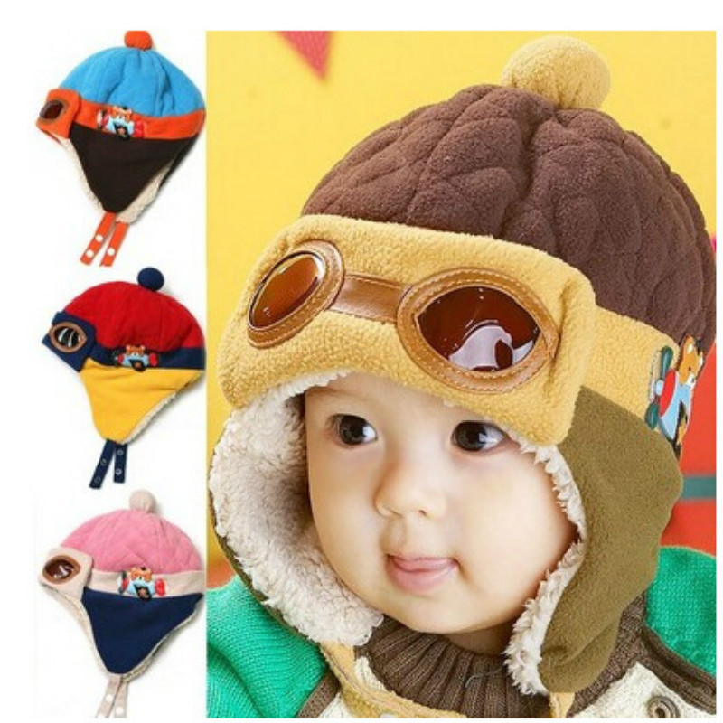 2016 Hot Sales Toddlers Cool Baby Boy Girl Kids Infant Winter Plus Thick Velvet Aviator Glasses Ear Cap Lei Feng Cap Warm Hat(China (Mainland))