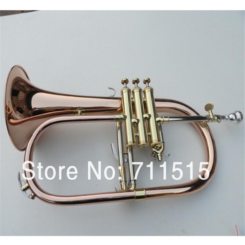 Factory Gold Lacquer Professional BB Trompeta Great Phosphor Copper Flugelhorn Alto Trumpet of Monel Valves Trumpete FH-200(China (Mainland))