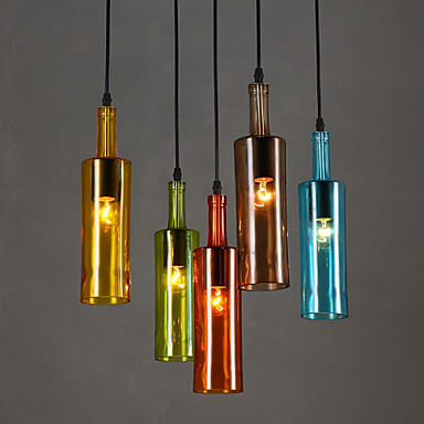 Colorful Bottle Modern LED Pendant Light For Coffee