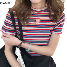 Buy PLAMTEE New T Shirt Women Clothes 2017 Striped T-shirt Short Sleeve Tops Female Clothing Ruffled Tee Shirt Femme Poleras Mujer for $8.27 in AliExpress store