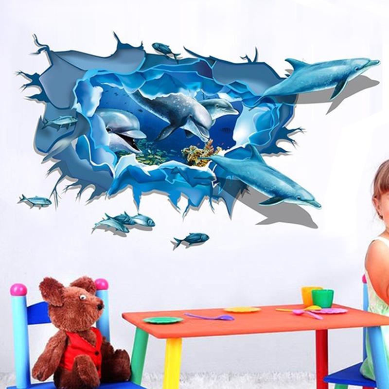 2016 Hot Sea Aquarium Blue 3D Dolphins Crack Wall Sticker Kids Decal Vinyl Mural Home Art Free Shipping(China (Mainland))