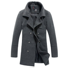 New Arrival 2015 Winter Mens Male Slim  Coat British Style Wool Coat Casual Overcoat Outerwear Plus Size M-2XL(China (Mainland))