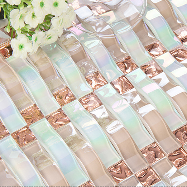 3D wall tiles beveled mirror glass pink mosaic tile shower room crystal mosaic(China (Mainland))