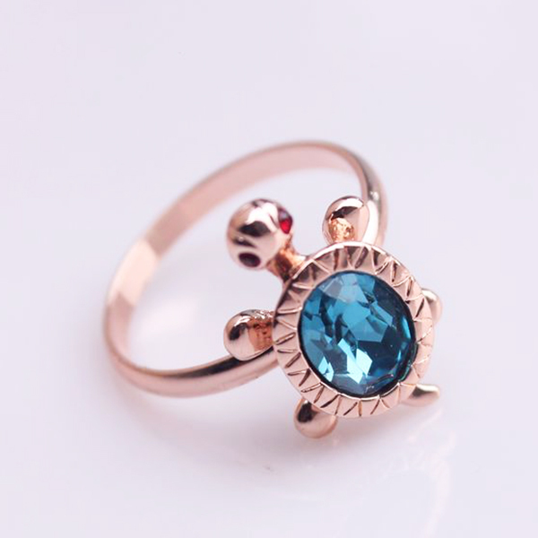 2014 fashion gold jewelry ring,sapphire glass animal turtle rings for women(China (Mainland))