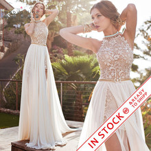 Romantic Ivory Lace Vestido de Noiva Beaded Sexy Backless High Low Beach Vintage Wedding Dress Chiffon 2016 Robe de Mariage(China (Mainland))
