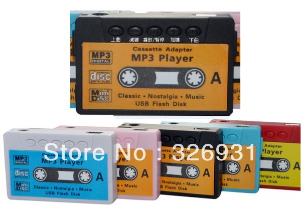 New Arrival Hot Sale High Quality Mini Cassette Tape Shape MP3 Music Player Support SD(TF) Card 4 Colors 10pcs/lot Free shipping(China (Mainland))