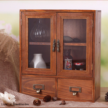 Cute Beautiful Handmade Tabletop Standing Vintage Wood Mini Cabinet with Doors Drawers(China (Mainland))