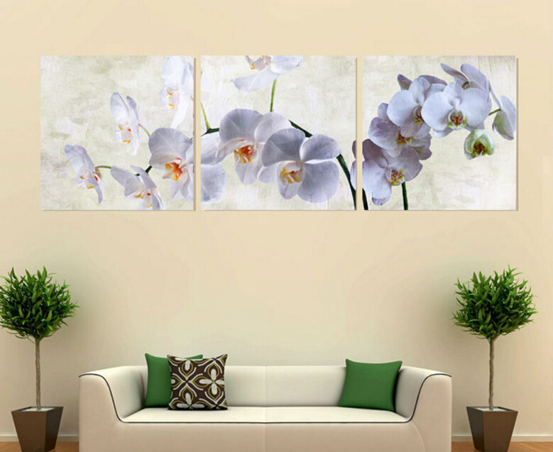 3 panel Wall Art Moth orchid Picture Oil Painting Canvas No Framework Abstract Print For Home Modern Decoration framed art(China (Mainland))