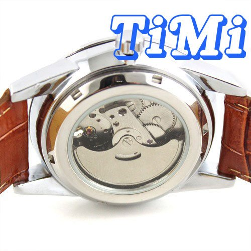 wholesale Moonphase Automatic Mens Tourbilon 24hrs Watch Leather freeship<br><br>Aliexpress
