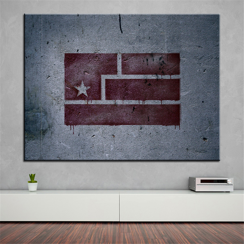 Large size Printing Oil Painting flag graffiti Wall painting Home Decorative Wall Art Picture For Living Room painting No Frame(China (Mainland))