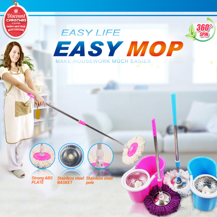 Hot sale best price portable stainless pole High quality hand press 360 degree spin dry magic mop rotating mop(China (Mainland))