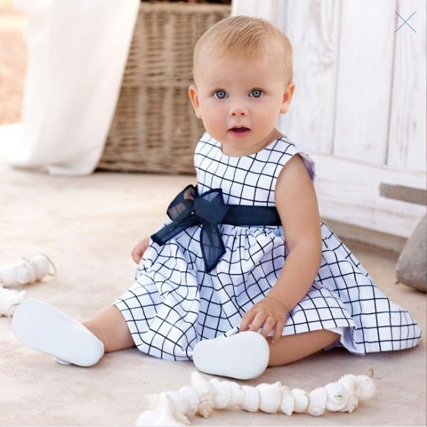 2016 Hot Baby Toddler Girl Kids Cotton Outfit Clothes Top Bow knot font b Plaids b