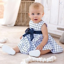 2016 Hot Baby Toddler Girl Kids Cotton Outfit Clothes Top Bow-knot Plaids Dress For 0-3 Year