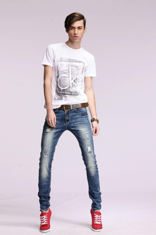 Скидки на Оптовая и розничная новые марка дыру разорвал узкие джинсы Потертые Мужчины прямо тонкий джинсовые разорвал прямые Тонкий байкер брюки # YZ6616