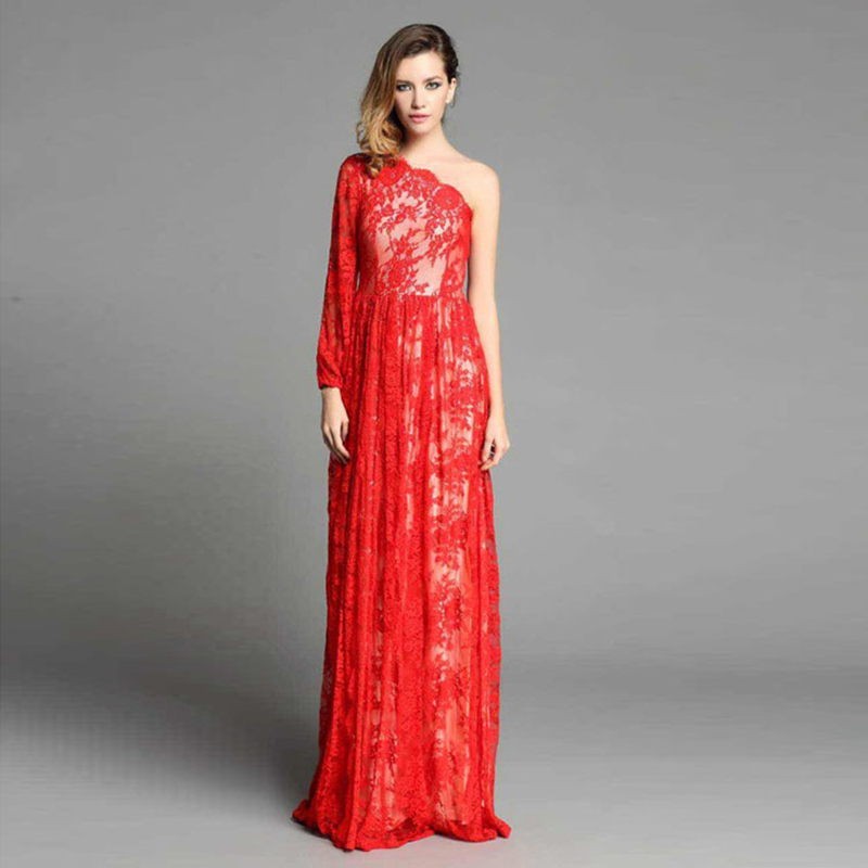 Sexy Long Dress 2016 New Fashion Runway Brand High-end Lace Hollow Quality Embroidery Red Elegant One-Shoulder Women Dress