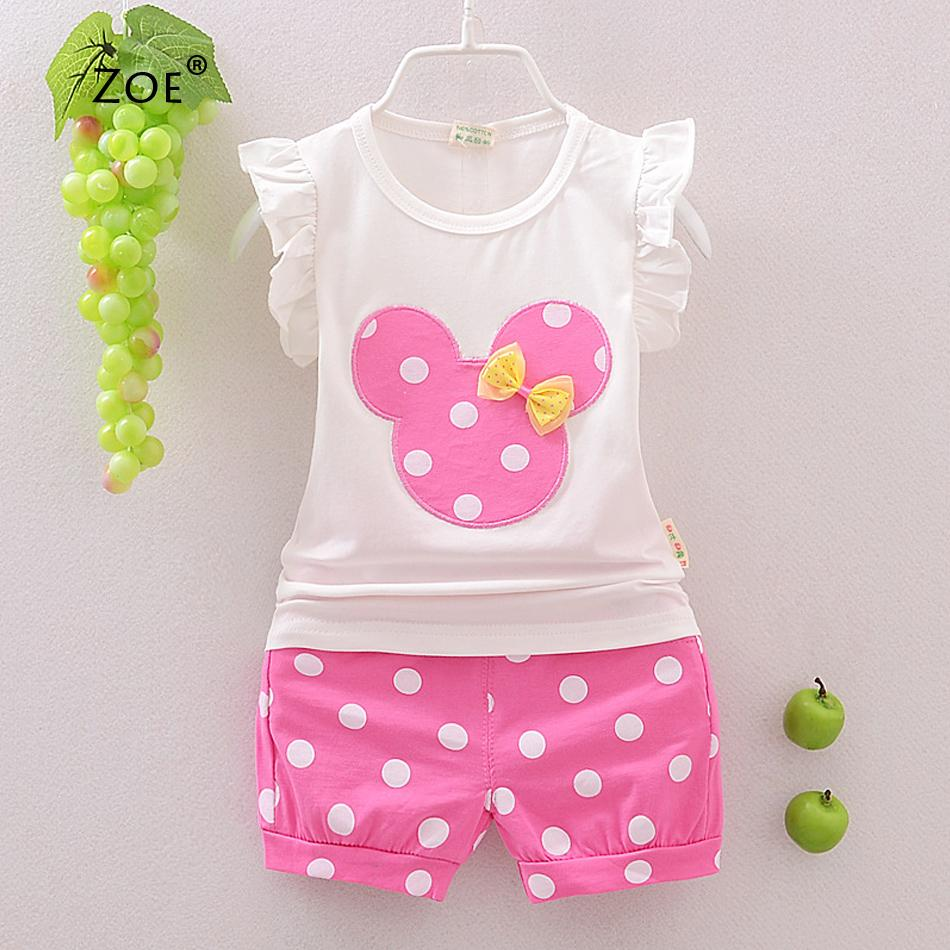 Retail new fashion girls clothing sets minnie children clothes bow tops t shirt leggings Dot pants cute baby kids suits 2pcs(China (Mainland))