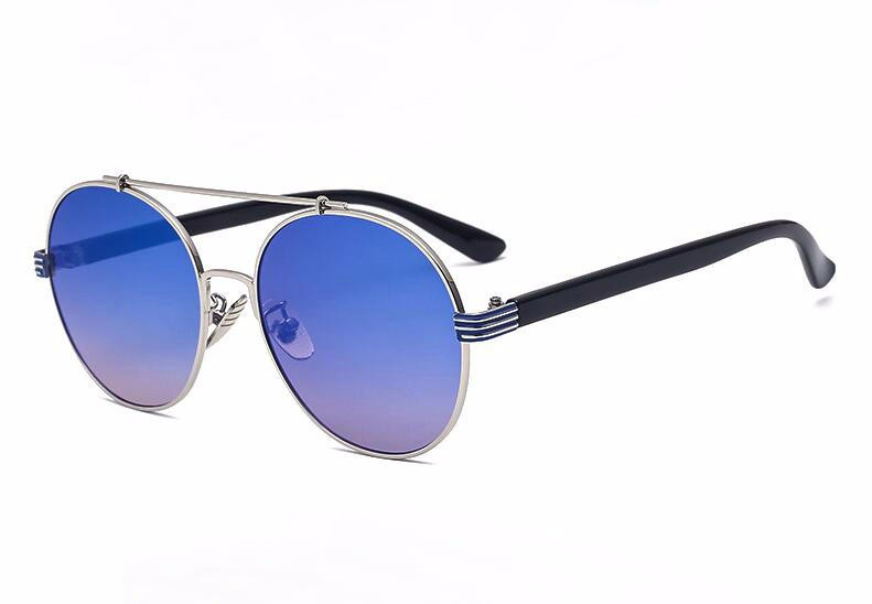 men Vintage Fashion Round Sunglasses For Big Face Women, Circle Metal Reflective Mirror Sun Glasses For Ladies oculos feminino