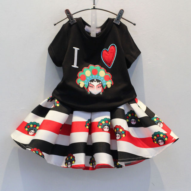 2015 new summer Peking Opera face girl dress set 2 piece short sleeved top/tee/t shirt+ruffle tutu skirt children clothes kids(China (Mainland))