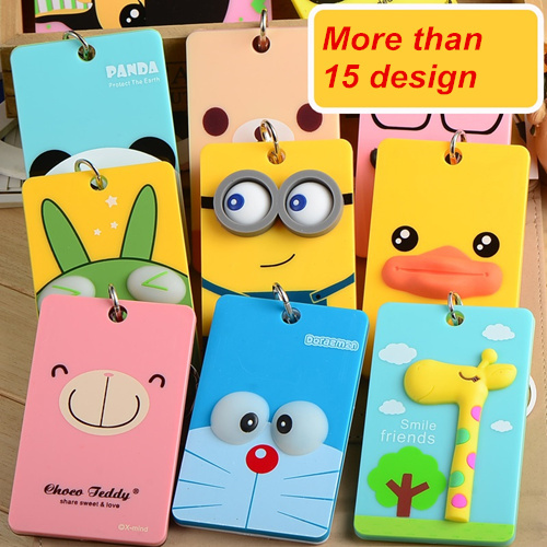 PVC card holder Credit Card Bus card case Hot sale cute Cartoon Panda Duck monster design Key holder ring Bag accessories 5503(China (Mainland))