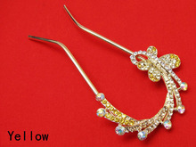 Gold Color Crystal Butterfly U shape Hairpin Clasp Hair Holders Stock Clearance(China (Mainland))