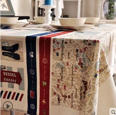 tablecloths table linen Cotton&Hamp Around the Mediterranean series design hot sale easy to wash Not easy to dirty(China (Mainland))