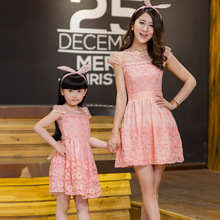 Summer new style mother and daughter dresses set,women classic yarn lace dress,kids girl princess party cloth short sleeve