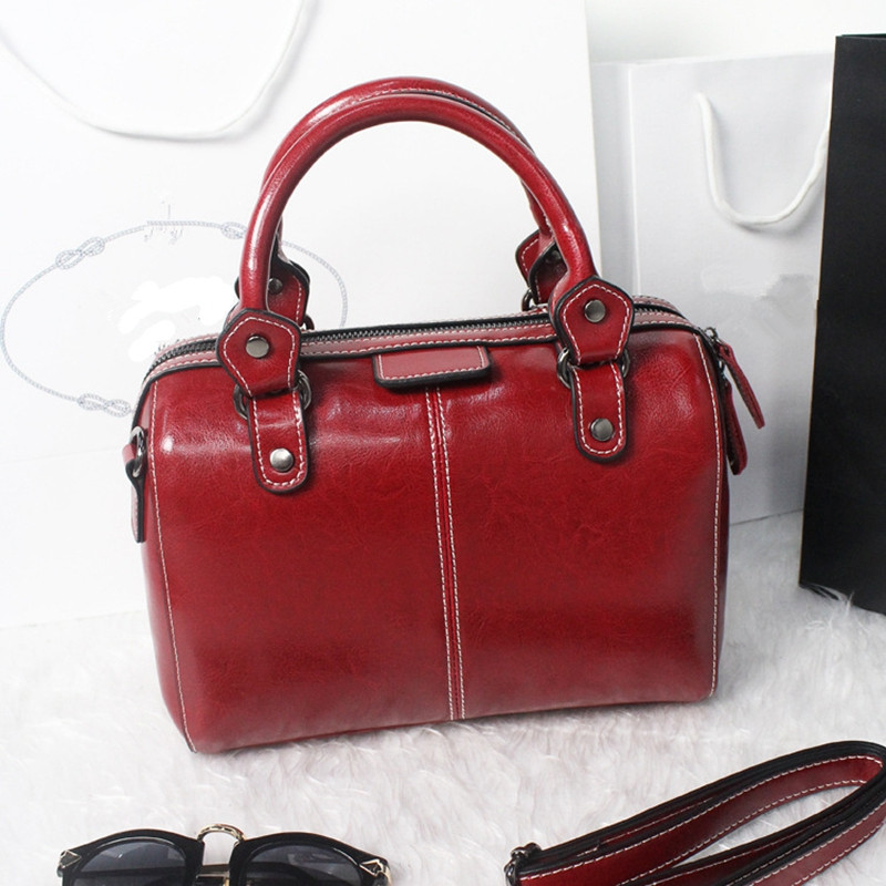 Hot Sell Popular Genuine Leather Bowling Women Handbag Thread Womens Designer Shoulder Bags With Famous Brand Bag Top Quality<br><br>Aliexpress