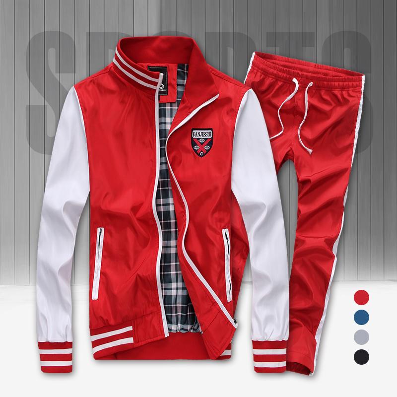 2015 new arrival fashion sports brand men clothing set men's sportswear tracksuit set jacket +pants