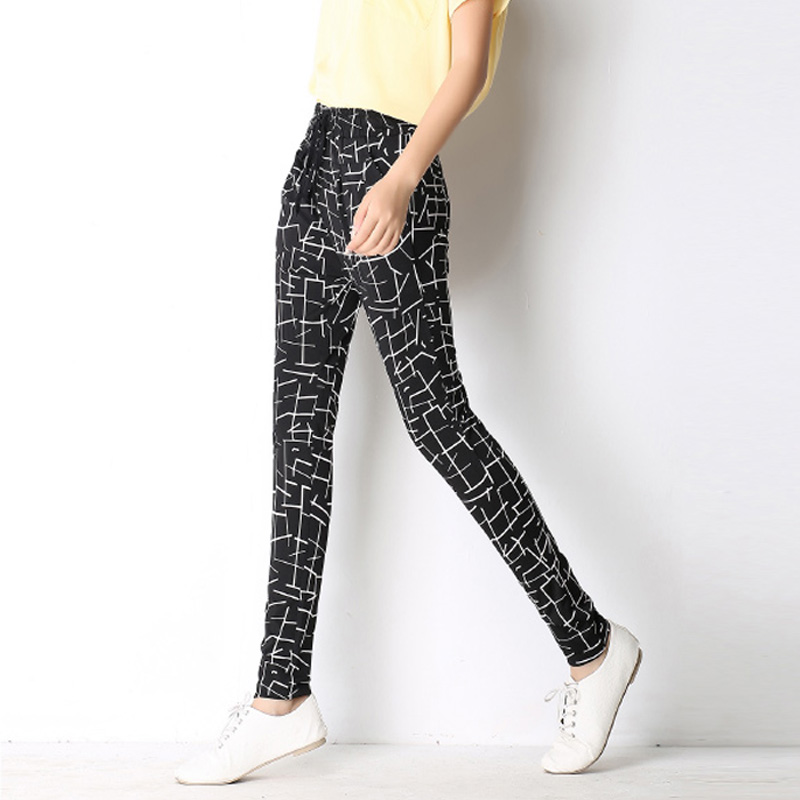 2016 new starting fashion casual black and white printing harem pants pantyhose big yards outer wear pants thin section(China (Mainland))