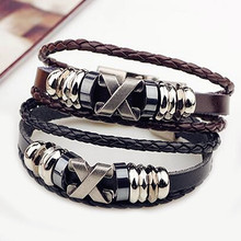 Vintage Cross Charm Multilayer Leather Bracelets For Men Rock Handmade Corss Bead Chain Leather Wrap Wristband Men Jewelry(China (Mainland))
