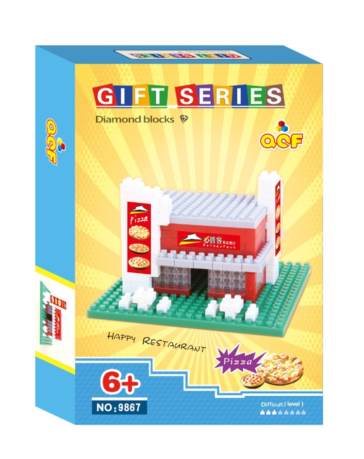 Factory QCF Blocks Architectural Plastic Mini Blocks Store MicroBlocks Pizza Blocks Apple DIY Building Toys Kids Gift(China (Mainland))