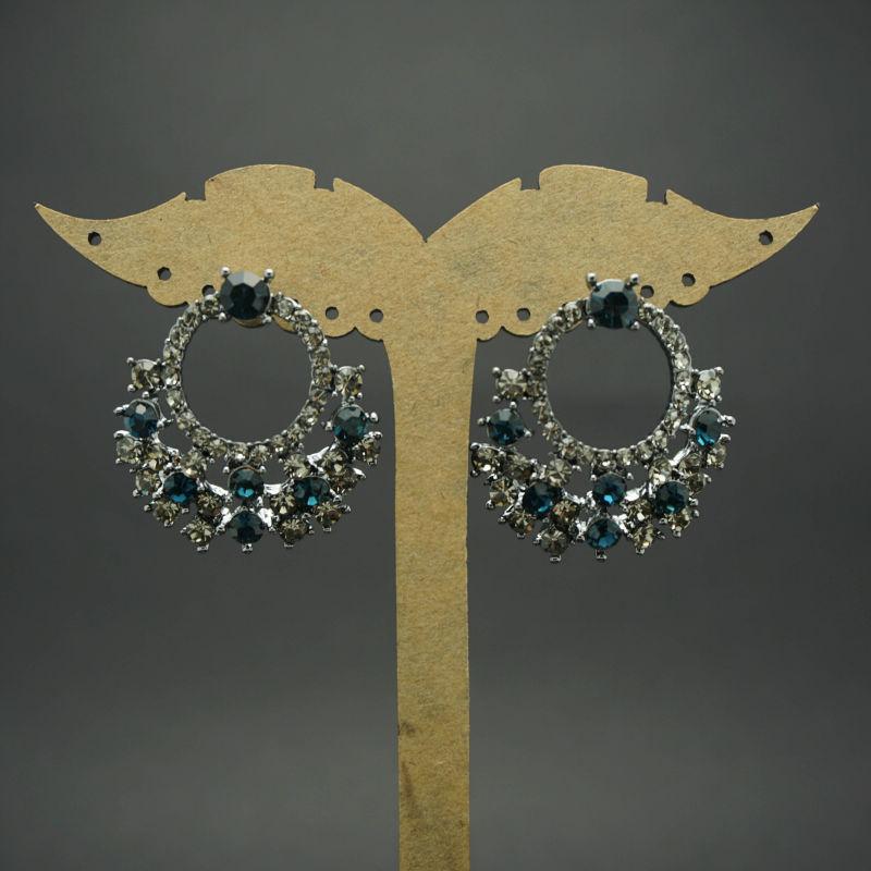2015 New Design fashional Eardrop with Blue Crystal Pendant Big Earrings(China (Mainland))
