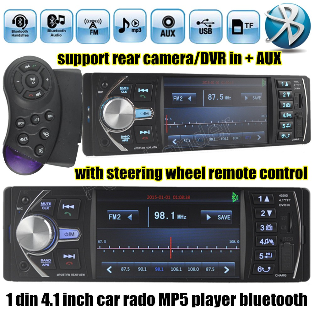 free shipping 4.1'' inch car radio Support DVR/AUX input USB TF with steering wheel remote control 1 din car audio stereo MP5(China (Mainland))