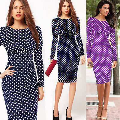 2015 Vestidos De Fiesta Women Dress The New Hot Couture Officially Wholesale Sales Of Full Sleeve Knee Pencil Dot Dress Wine(China (Mainland))