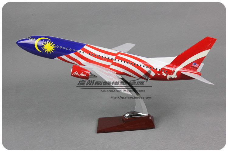44cm Resin Air Asia Malaysia Flag Airlines Boeing B737 300 Airways Plane Model Airplane Model Toy Collections Decoration Gift(China (Mainland))