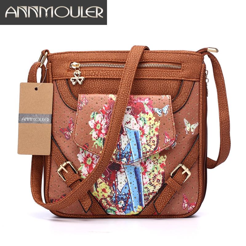 Annmouler Brand Women Floral Bag 5 Colors Pu Leather Shoulder Messenger Bag 3D Digital Printing Crossbody Bag Double Zipper Bag(China (Mainland))