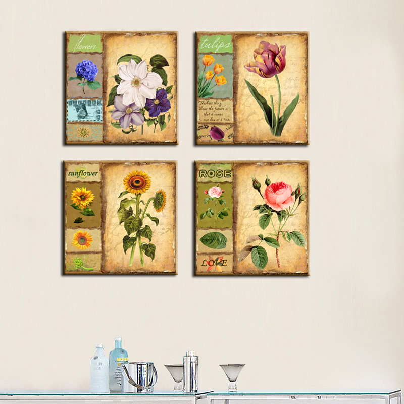 4 Pieces Set Of Vintage Floral Canvas Painting Home Decorative Art Pictures Retro Styling Flower Wall Paintings For Room Decora(China (Mainland))