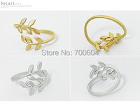 leaf edition pure fresh Exquisite leaves Lotus herb snow Flower Style Adjustable Finger Ring woman ladies girls