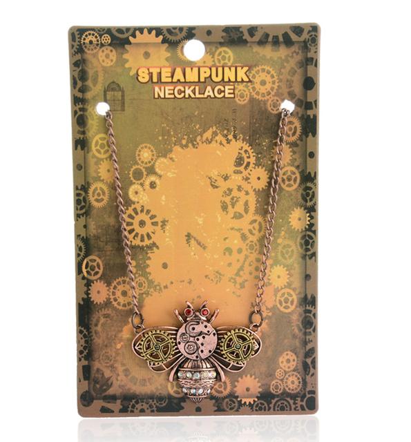Retro steampunk silver key pendant bead chain necklace